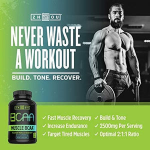 Zhou Nutrition,Muscle BCAA,Maximum Muscle Recovery,2500mg, 120 Capsule