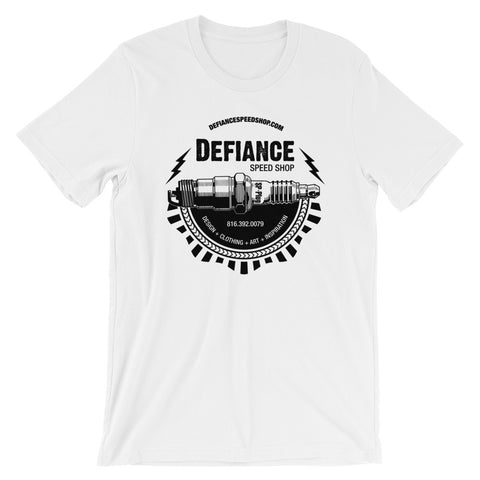 Defiance Speed Shop Spark Plug T-Shirt