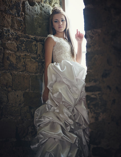 beautiful model in a castle
