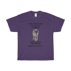Never Underestimate the Power of a Woman Wolf T-Shirt by Protect The Wolves - Protect The Wolves