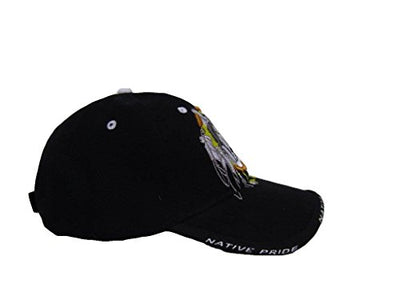 Native  Pride Wolf Dream Catcher Black Ball Cap - Protect The Wolves