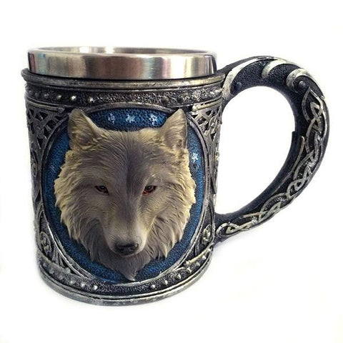 Image of Double Wall Stainless Steel 3D Wolf Head Mug - Protect The Wolves