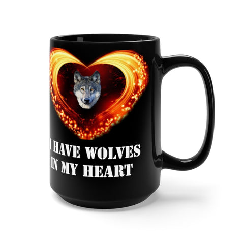 Image of Black Mug 15oz Coffee Mug By Protect The Wolves Wolf Coffee Mugs for Wolf Lovers - Protect The Wolves