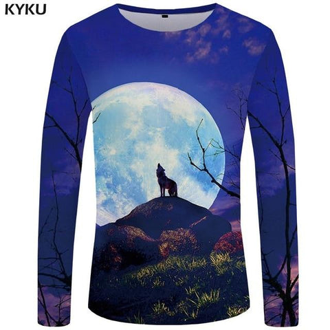 Image of Wolf T shirt  Long sleeve shirt Love Wolves - Protect The Wolves