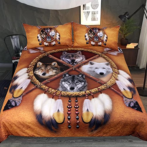 Native American 4 Wolves Dreamcatcher Bedding  set Golden Brown Indian Duvet Cover Queen Size - Protect The Wolves
