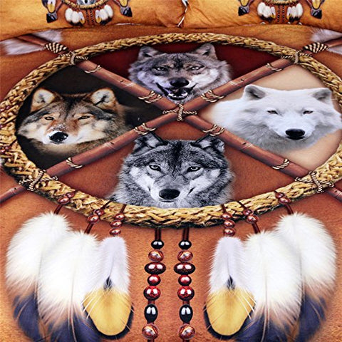 Image of Native American 4 Wolves Dreamcatcher Bedding  set Golden Brown Indian Duvet Cover Queen Size - Protect The Wolves