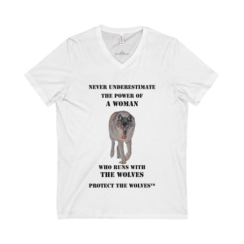 Image of Never Underestimate Power of a Woman V-Neck Wolf T-Shirt by Protect The Wolves - Protect The Wolves