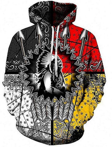 Image of Native American Chief 3D Hoodie Hoodies Men Women - Protect The Wolves