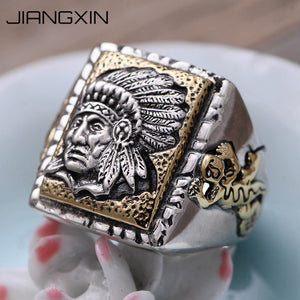 925 Sterling Silver Old Indian Ring for Men - Protect The Wolves