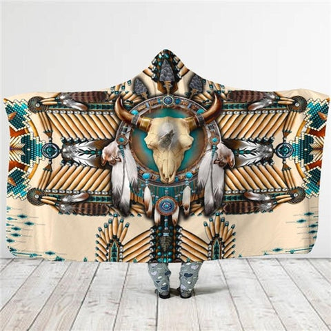 Image of Birds Feather/Native/Wolf/Buffalo Head Motifs Hooded Blanket - Protect The Wolves