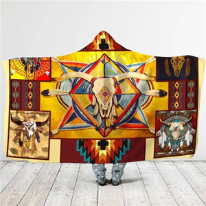 Birds Feather/Native/Wolf/Buffalo Head Motifs Hooded Blanket - Protect The Wolves