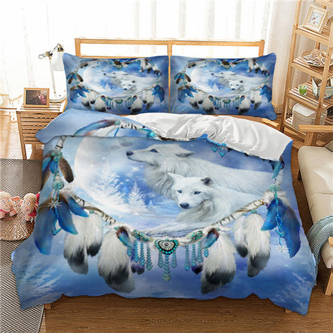 Image of Bedding Set Heart-shaped Wolf Dreamcatcher - Protect The Wolves