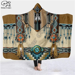 Black Native Indian Lakota Skull buffalo soldier Hooded 3D Blanket - Protect The Wolves
