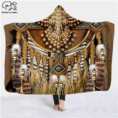Image of Black Native Indian Lakota Skull buffalo soldier Hooded 3D Blanket - Protect The Wolves