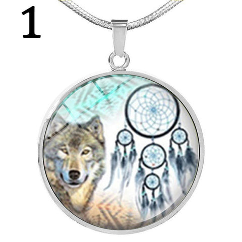 Dreamcatcher Wolf Cabochon Glass Pendant Necklace - Protect The Wolves