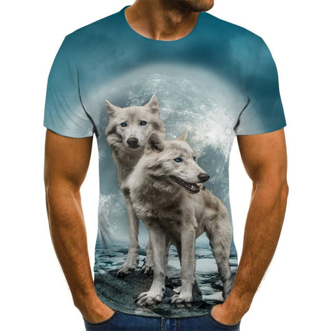 Image of 2 Wolves Print T-Shirt 3D Unisex Wolf Tshirt - Protect The Wolves