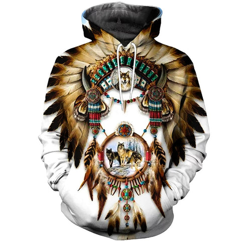 Image of Native American Wolf Hoodie 3D - Protect The Wolves