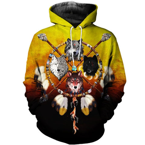 Image of Native  Wolf Dreamcatcher Hoodie 3D - Protect The Wolves