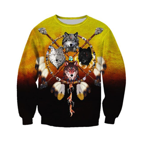 Native  Wolf Dreamcatcher Hoodie 3D - Protect The Wolves