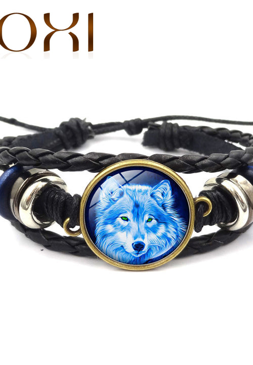 Leather Bracelet Wolf Head Glass Metal Buckle - Protect The Wolves