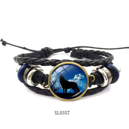 Leather Bracelet Wolf Head Glass Metal Buckle