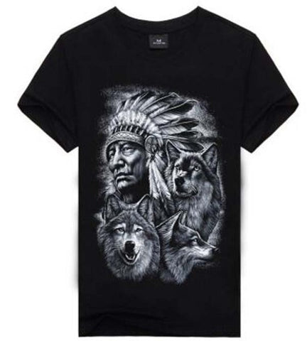 Image of 3D Wolf T-shirts Fashion Black - Protect The Wolves
