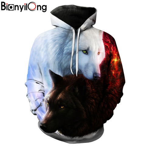 Image of Wolf Printed Hoodies - Protect The Wolves