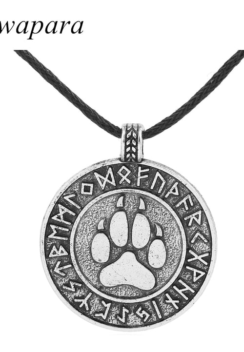 Wolf Viking Dog Pet Paw Necklaces Pendants Antique Silver Rope Chain Footprint Charms Jewelry for Women - Protect The Wolves