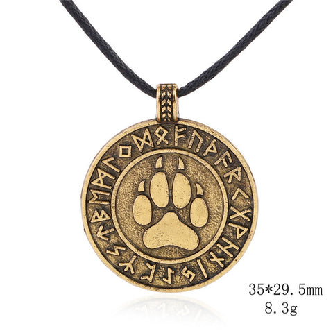Image of Wolf Viking Dog Pet Paw Necklaces Pendants Antique Silver Rope Chain Footprint Charms Jewelry for Women - Protect The Wolves