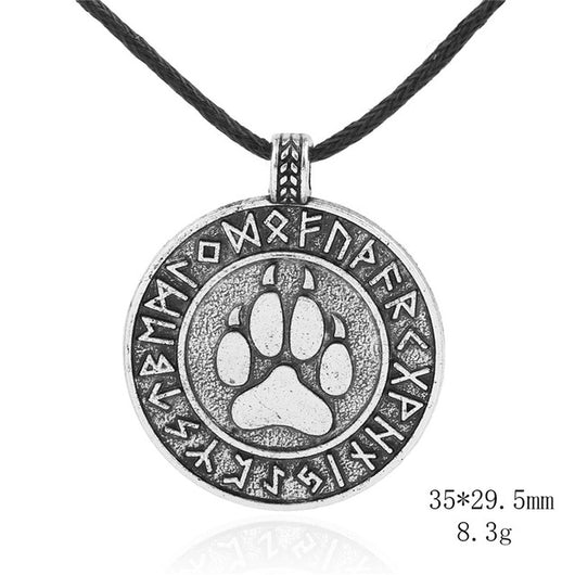 Wolf Viking Dog Pet Paw Necklaces Pendants Antique Silver Rope Chain Footprint Charms Jewelry for Women
