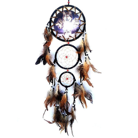 Wolf Style Unique yarn and feathers Rattan Dream Catcher with Feathers Wall Hanging Decoration Ornament - Protect The Wolves
