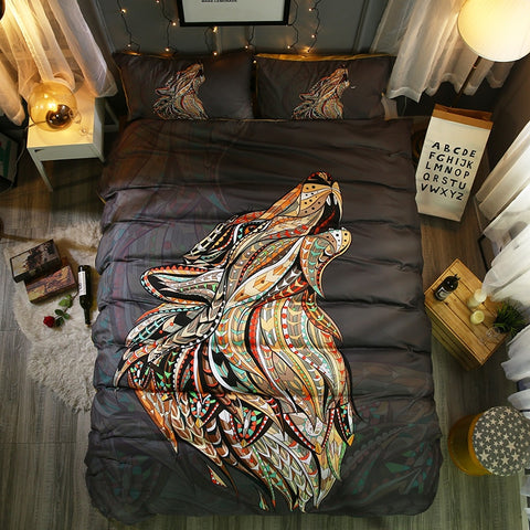 3d Wolf duvet cover set queen - Protect The Wolves