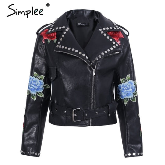Womens leather coat appliques