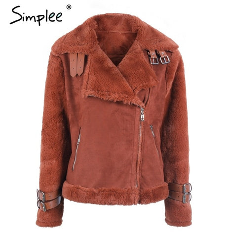Simplee Faux Imitation leather suede lamb fur jacket coat women - Protect The Wolves