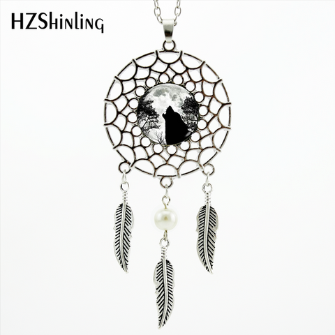 Image of Howling Black Wolf Dream Catcher Necklace - Protect The Wolves