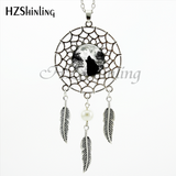 Howling Black Wolf Dream Catcher Necklace