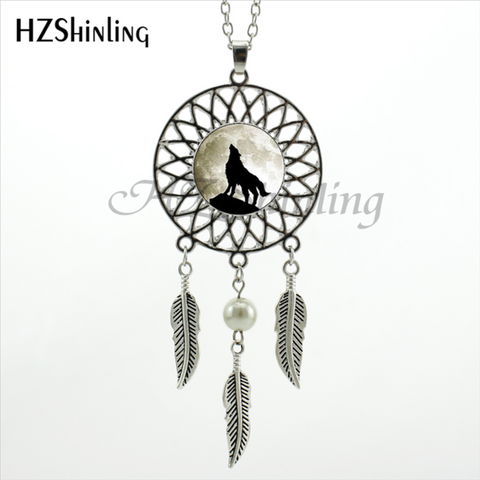 Howling Black Wolf Dream Catcher Necklace - Protect The Wolves