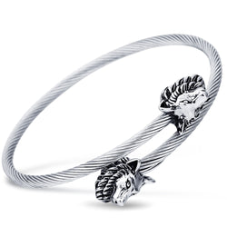 Vintage Stainless steel Wolf Head Cuff Bracelets Open Bangle Jewelry for Women Christmas Gift