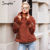 Simplee Faux Imitation leather suede lamb fur jacket coat women