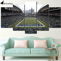 HD Printed 5 Piece Canvas Art Seattle Seahawks Football Game Canvas Wall Art