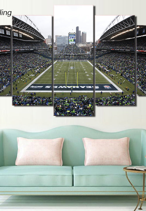 HD Printed 5 Piece Canvas Art Seattle Seahawks Football Game Canvas Wall Art - Protect The Wolves