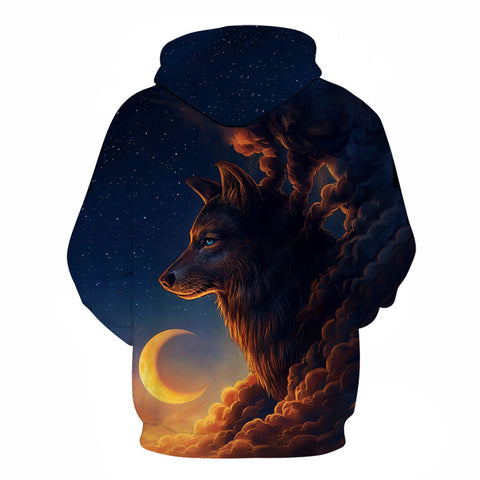 Image of Night Guardian Wolf 3D hoodies Men Sweatshirt Novelty Casual Hoodies Quality Drop ship Tracksuits Brand Pullover - Protect The Wolves