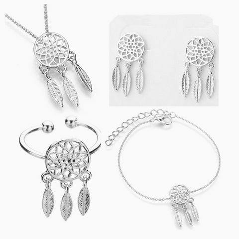 Dreamcatcher Ring, necklace, bracelet, earring 1 set jewelry set For Women Dream Catcher Jewelry accessory - Protect The Wolves