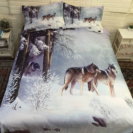 3D Wolf Printed Bed Linen Bedding Sets