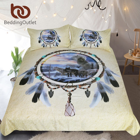 3D Wolf Printed Duvet Cover Wolves Bedclothes 3pcs Feathers Tribal Design - Protect The Wolves