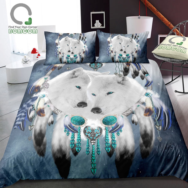 White Wolf Dream Catcher  Starry Sky Dream Catcher Bedding Cover Set 100% Microfiber Blue