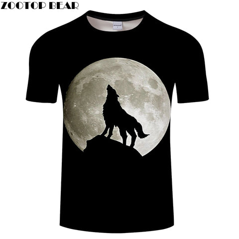 Image of 3D Wolf Howling at The Moon T-shirt - Protect The Wolves