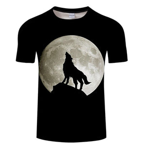 3D Wolf Howling at The Moon T-shirt - Protect The Wolves