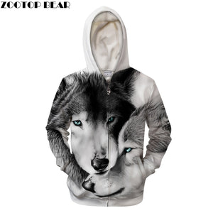 Unisex Loves Wolves 3D Print Hoodies - Protect The Wolves
