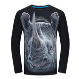 Fashion  t-shirt long sleeve  Wolf Printed casual top Plus Size 6XL